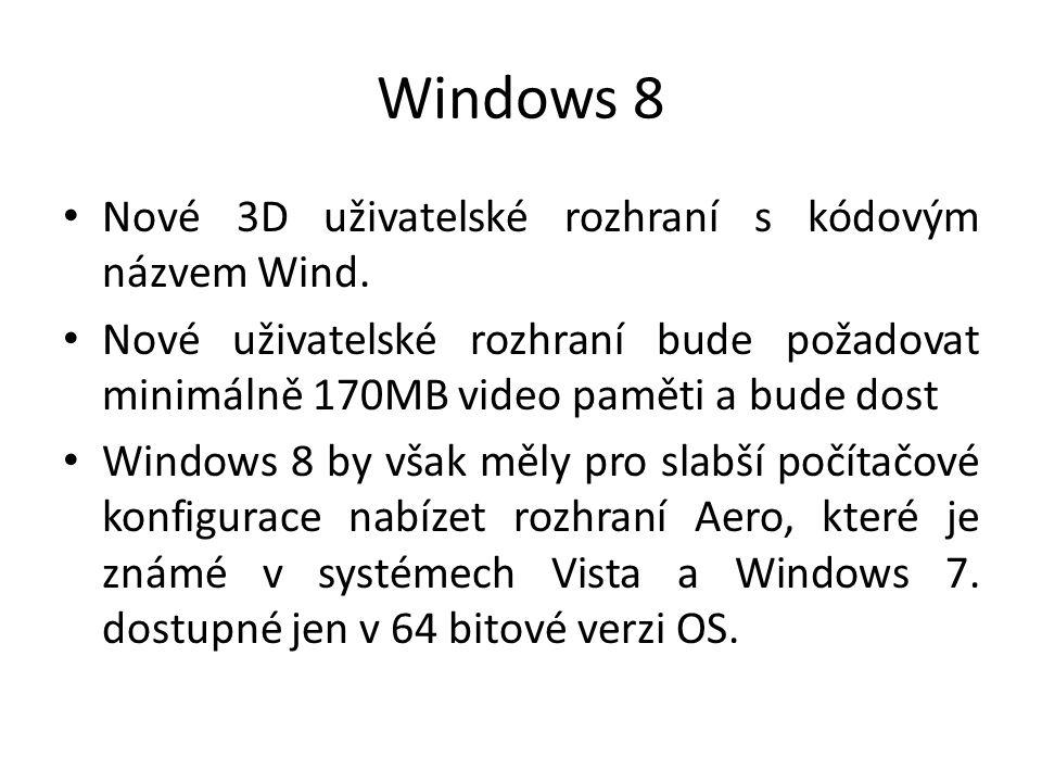 Windows 8 Nové 3D uživatelské rozhraní s kódovým názvem Wind. Nové uživatelské rozhraní bude požadovat minimálně 170MB video paměti a bude dost Window