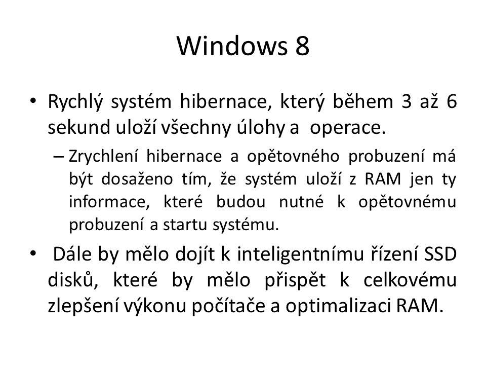 Windows 8 Rychlý systém hibernace, který během 3 až 6 sekund uloží všechny úlohy a operace. – Zrychlení hibernace a opětovného probuzení má být dosaže