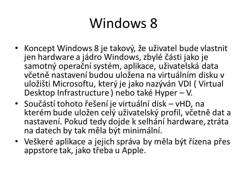 Windows 8 Koncept Windows 8 je takový, že uživatel bude vlastnit jen hardware a jádro Windows, zbylé části jako je samotný operační systém, aplikace, uživatelská data včetně nastavení budou uložena na virtuálním disku v uložišti Microsoftu, který je jako nazýván VDI ( Virtual Desktop Infrastructure ) nebo také Hyper – V.