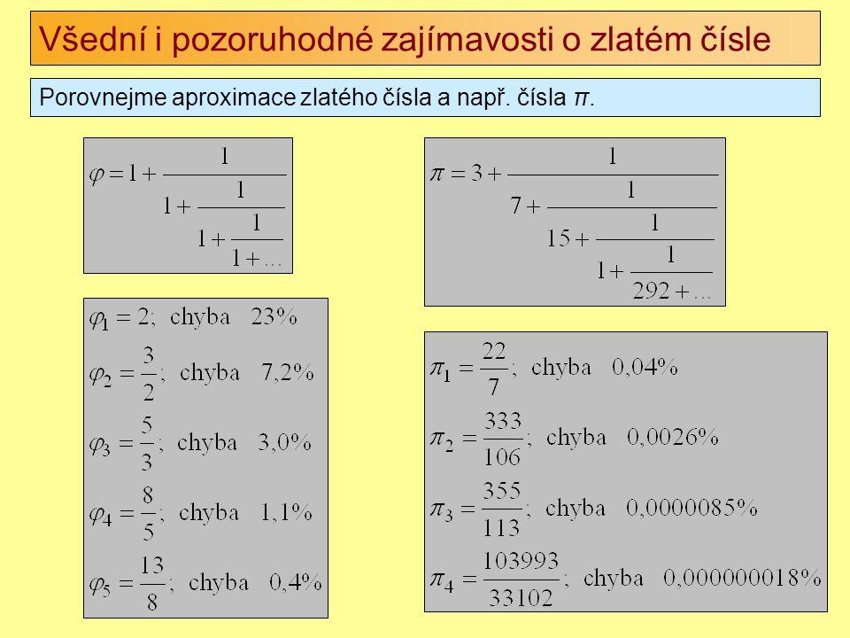 Všední i pozoruhodné zajímavosti o zlatém čísle Porovnejme aproximace zlatého čísla a např. čísla π.