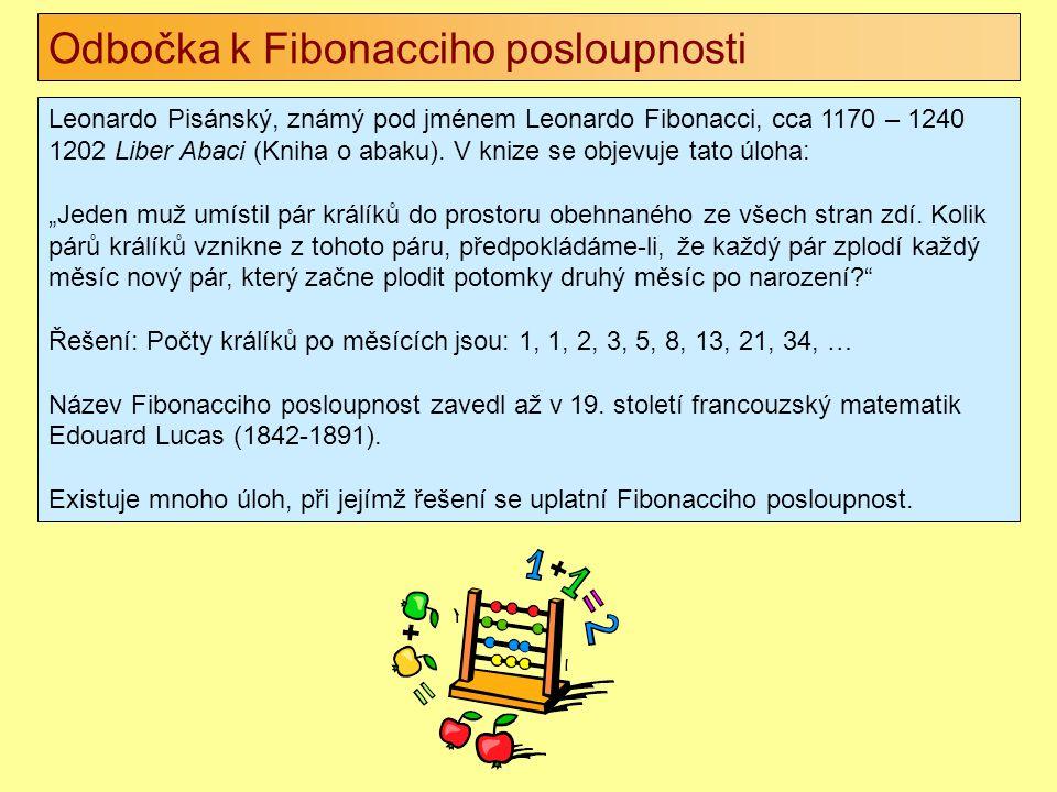 Odbočka k Fibonacciho posloupnosti Leonardo Pisánský, známý pod jménem Leonardo Fibonacci, cca 1170 – 1240 1202 Liber Abaci (Kniha o abaku). V knize s