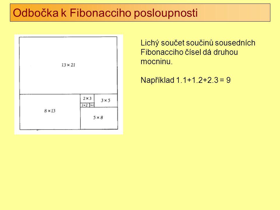Odbočka k Fibonacciho posloupnosti Lichý součet součinů sousedních Fibonacciho čísel dá druhou mocninu. Například 1.1+1.2+2.3 = 9