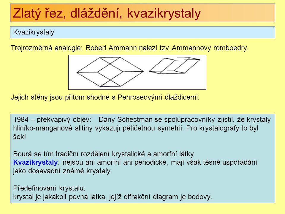 Zlatý řez, dláždění, kvazikrystaly Kvazikrystaly 1984 – překvapivý objev: Dany Schectman se spolupracovníky zjistil, že krystaly hliníko-manganové sli