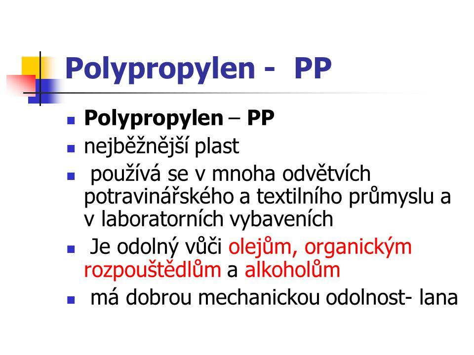 Polypropylen - PP Polypropylen – PP nejběžnější plast používá se v mnoha odvětvích potravinářského a textilního průmyslu a v laboratorních vybaveních