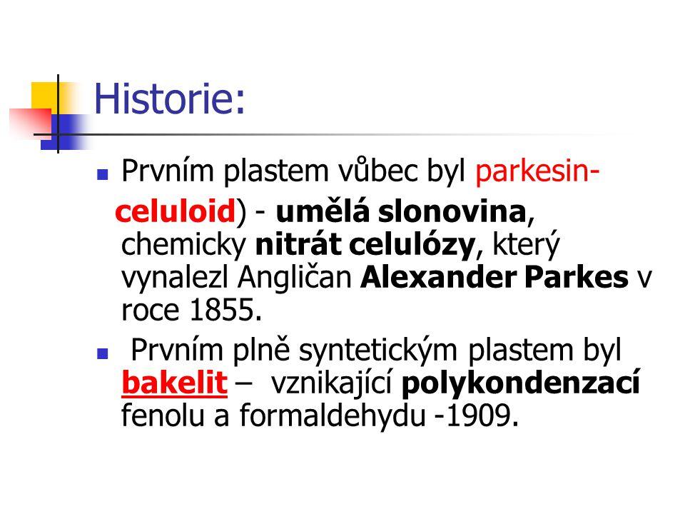Historie: Prvním plastem vůbec byl parkesin- celuloid) - umělá slonovina, chemicky nitrát celulózy, který vynalezl Angličan Alexander Parkes v roce 18
