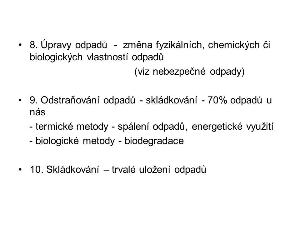 8. Úpravy odpadů - změna fyzikálních, chemických či biologických vlastností odpadů (viz nebezpečné odpady) 9. Odstraňování odpadů - skládkování - 70%