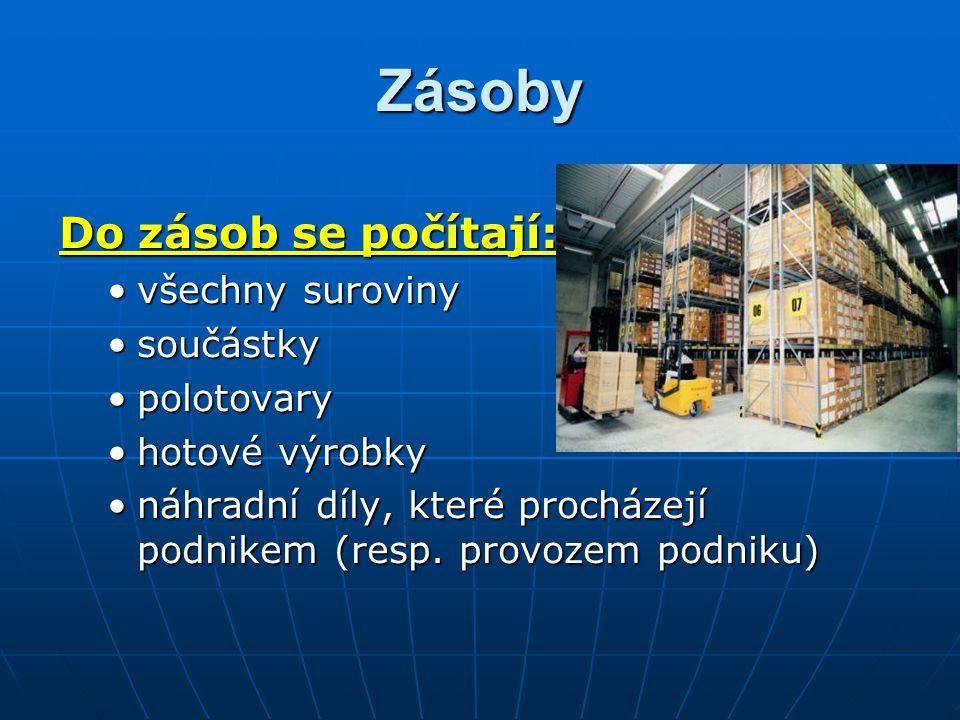 Zásoby Do zásob se počítají: všechny surovinyvšechny suroviny součástkysoučástky polotovarypolotovary hotové výrobkyhotové výrobky náhradní díly, kter