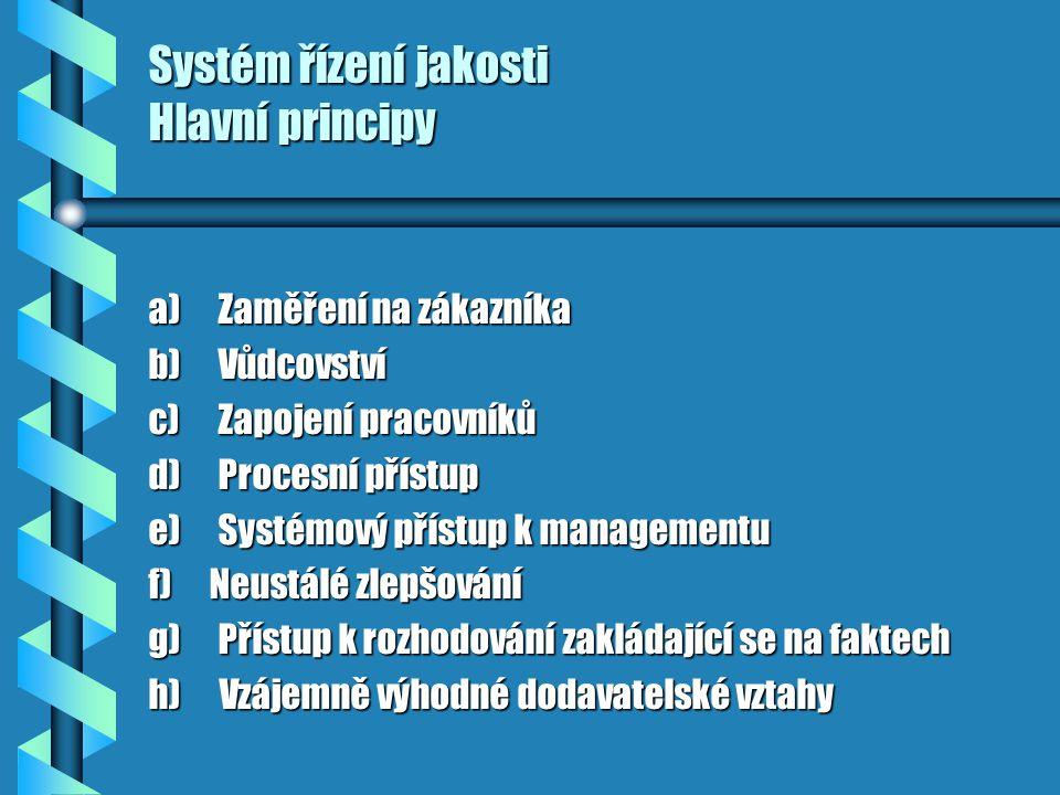 Systém řízení jakosti Hlavní principy a) Zaměření na zákazníka b) Vůdcovství c) Zapojení pracovníků d) Procesní přístup e) Systémový přístup k managementu f) Neustálé zlepšování g) Přístup k rozhodování zakládající se na faktech h) Vzájemně výhodné dodavatelské vztahy