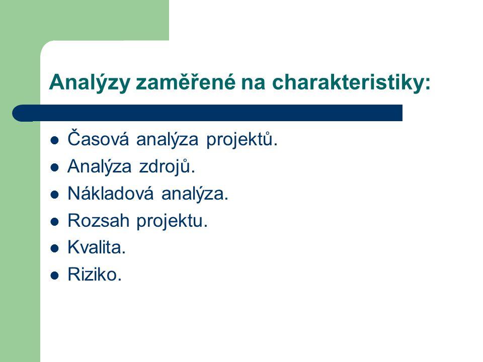 Analýzy zaměřené na charakteristiky: Časová analýza projektů. Analýza zdrojů. Nákladová analýza. Rozsah projektu. Kvalita. Riziko.