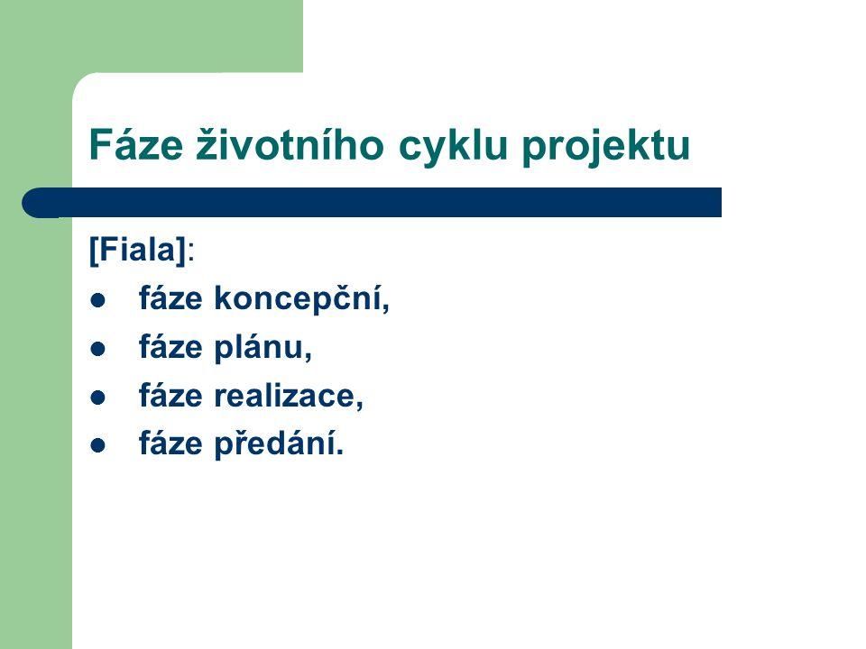 Fáze životního cyklu projektu [Fiala]: fáze koncepční, fáze plánu, fáze realizace, fáze předání.