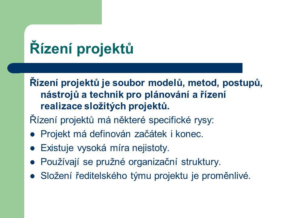 Řízení projektů Řízení projektů je soubor modelů, metod, postupů, nástrojů a technik pro plánování a řízení realizace složitých projektů. Řízení proje