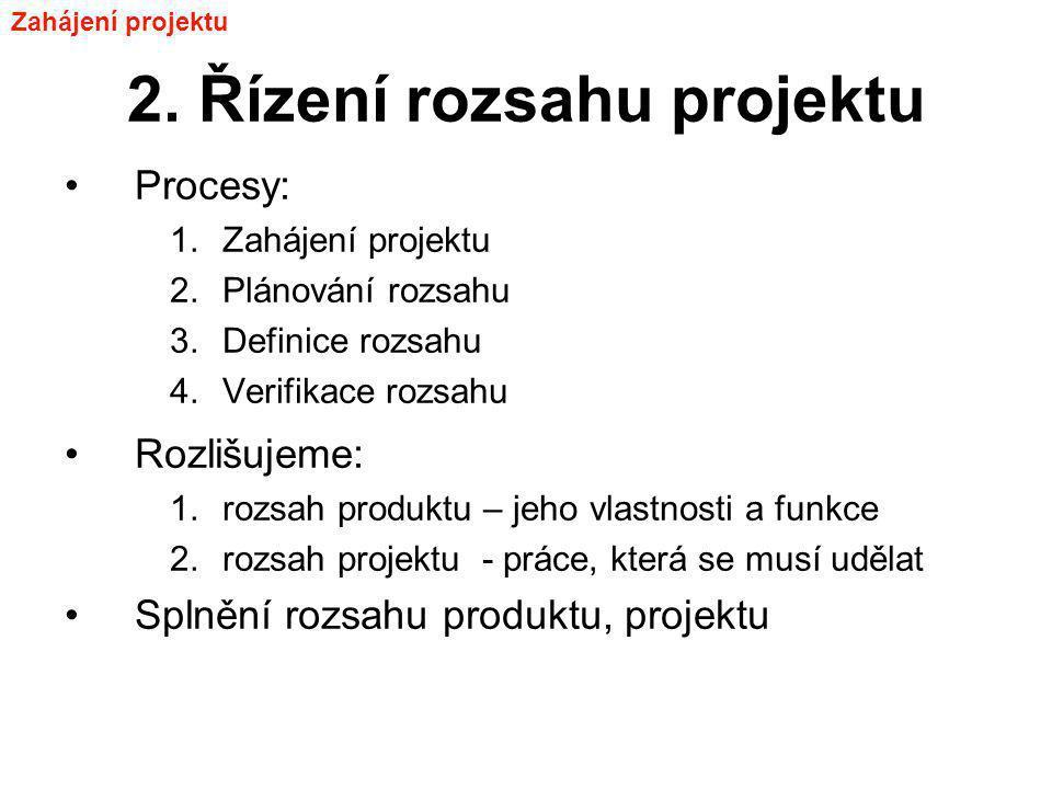 2. Řízení rozsahu projektu Procesy: 1.Zahájení projektu 2.Plánování rozsahu 3.Definice rozsahu 4.Verifikace rozsahu Rozlišujeme: 1.rozsah produktu – j