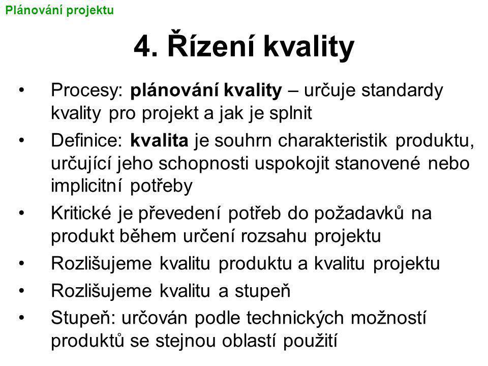 4. Řízení kvality Procesy: plánování kvality – určuje standardy kvality pro projekt a jak je splnit Definice: kvalita je souhrn charakteristik produkt