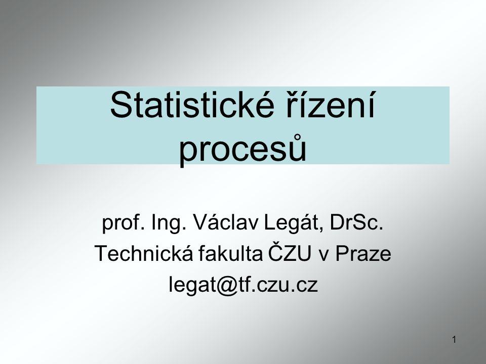 1 Statistické řízení procesů prof.Ing. Václav Legát, DrSc.