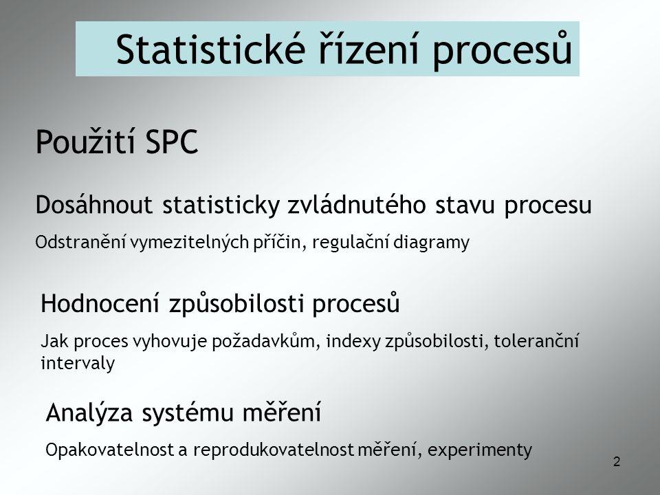 2 Statistické řízení procesů Použití SPC Analýza systému měření Opakovatelnost a reprodukovatelnost měření, experimenty Dosáhnout statisticky zvládnutého stavu procesu Odstranění vymezitelných příčin, regulační diagramy Hodnocení způsobilosti procesů Jak proces vyhovuje požadavkům, indexy způsobilosti, toleranční intervaly