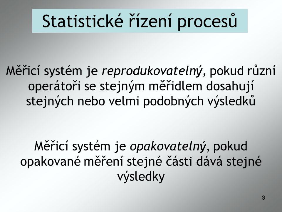 3 Statistické řízení procesů Měřicí systém je reprodukovatelný, pokud různí operátoři se stejným měřidlem dosahují stejných nebo velmi podobných výsledků Měřicí systém je opakovatelný, pokud opakované měření stejné části dává stejné výsledky