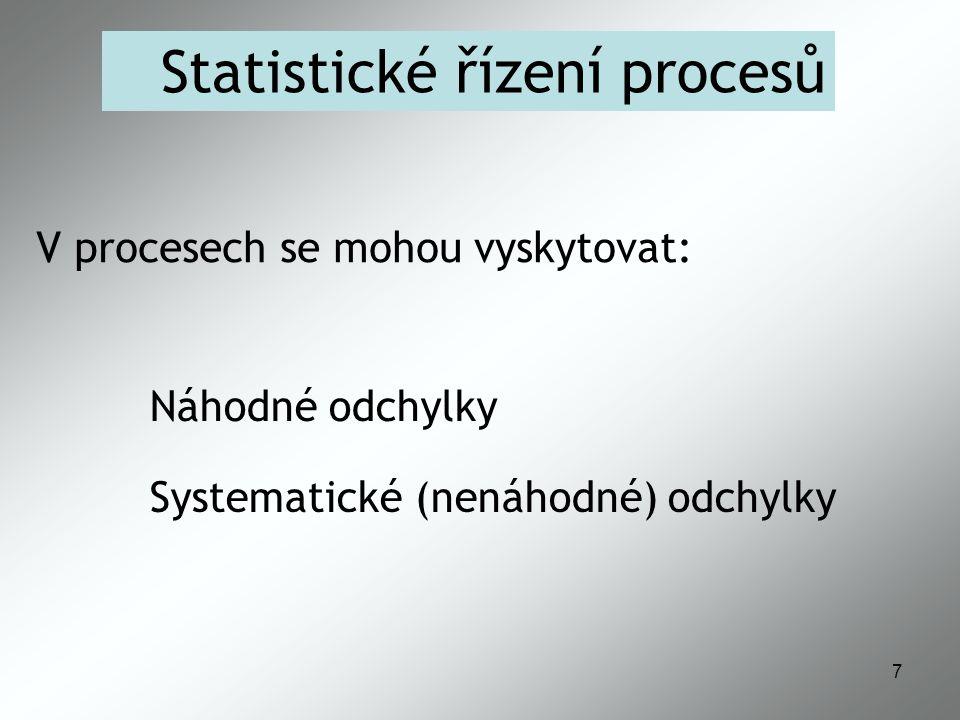 8 Statistické řízení procesů Náhodné odchylky: Příčiny jsou obtížně identifikovatelné Spolupůsobení mnoha faktorů Jejich odstranění je neekonomické Lze je řídit statisticky