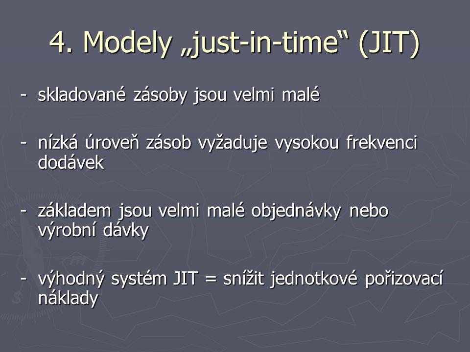 """4. Modely """"just-in-time"""" (JIT) -skladované zásoby jsou velmi malé -nízká úroveň zásob vyžaduje vysokou frekvenci dodávek -základem jsou velmi malé obj"""