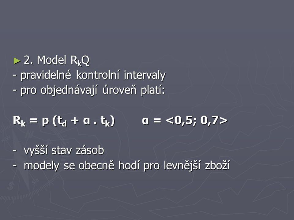 ► 2. Model R k Q - pravidelné kontrolní intervaly - pro objednávají úroveň platí: R k = p (t d + α. t k ) α = R k = p (t d + α. t k ) α = -vyšší stav