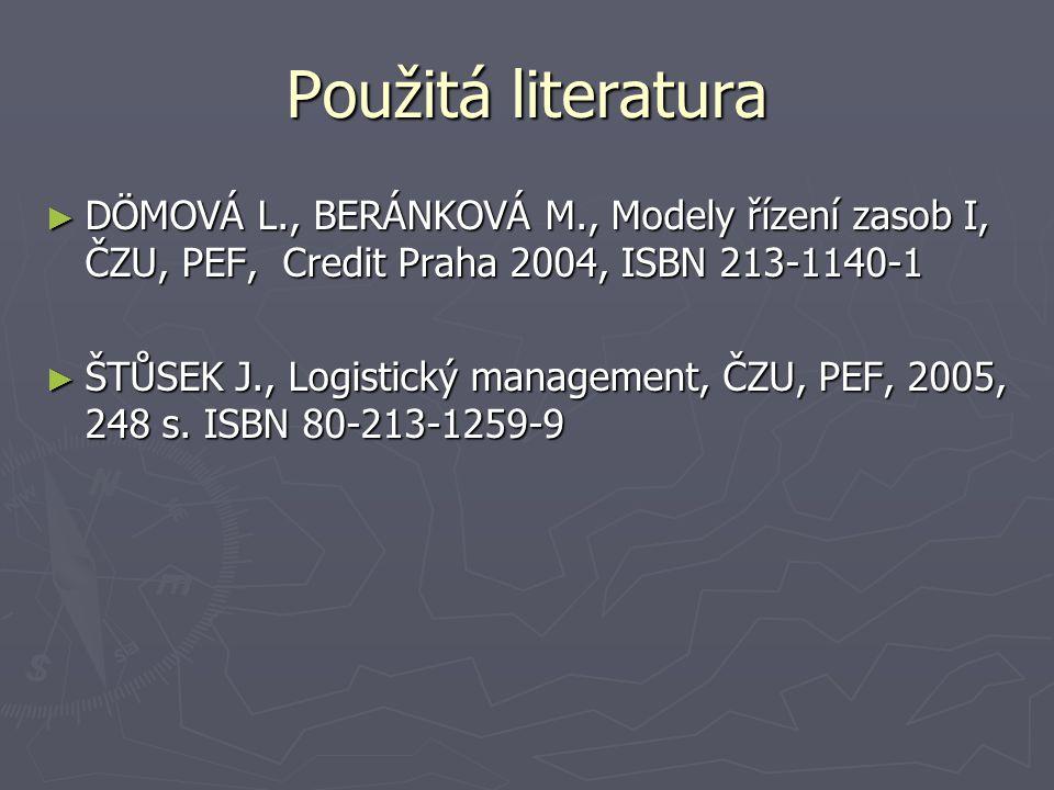 Použitá literatura ► DÖMOVÁ L., BERÁNKOVÁ M., Modely řízení zasob I, ČZU, PEF, Credit Praha 2004, ISBN 213-1140-1 ► ŠTŮSEK J., Logistický management,
