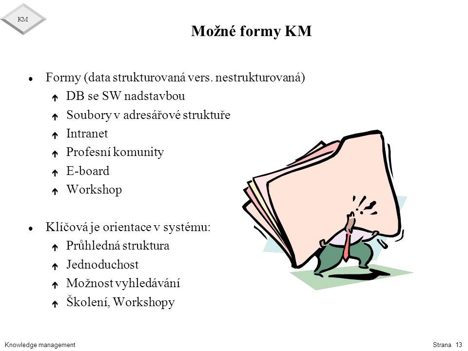 Knowledge management KM Strana 13 Možné formy KM l Formy (data strukturovaná vers. nestrukturovaná) é DB se SW nadstavbou é Soubory v adresářové struk