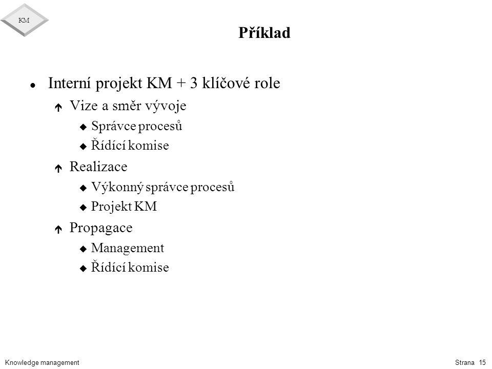 Knowledge management KM Strana 15 Příklad l Interní projekt KM + 3 klíčové role é Vize a směr vývoje u Správce procesů u Řídící komise é Realizace u V