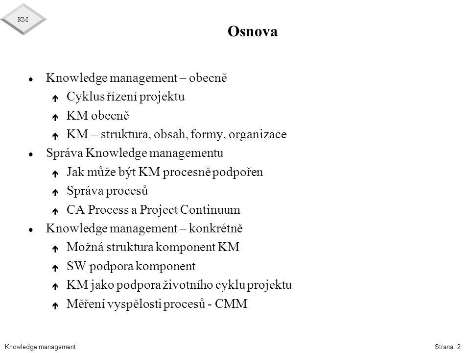 Knowledge management KM Strana 2 Osnova l Knowledge management – obecně é Cyklus řízení projektu é KM obecně é KM – struktura, obsah, formy, organizac