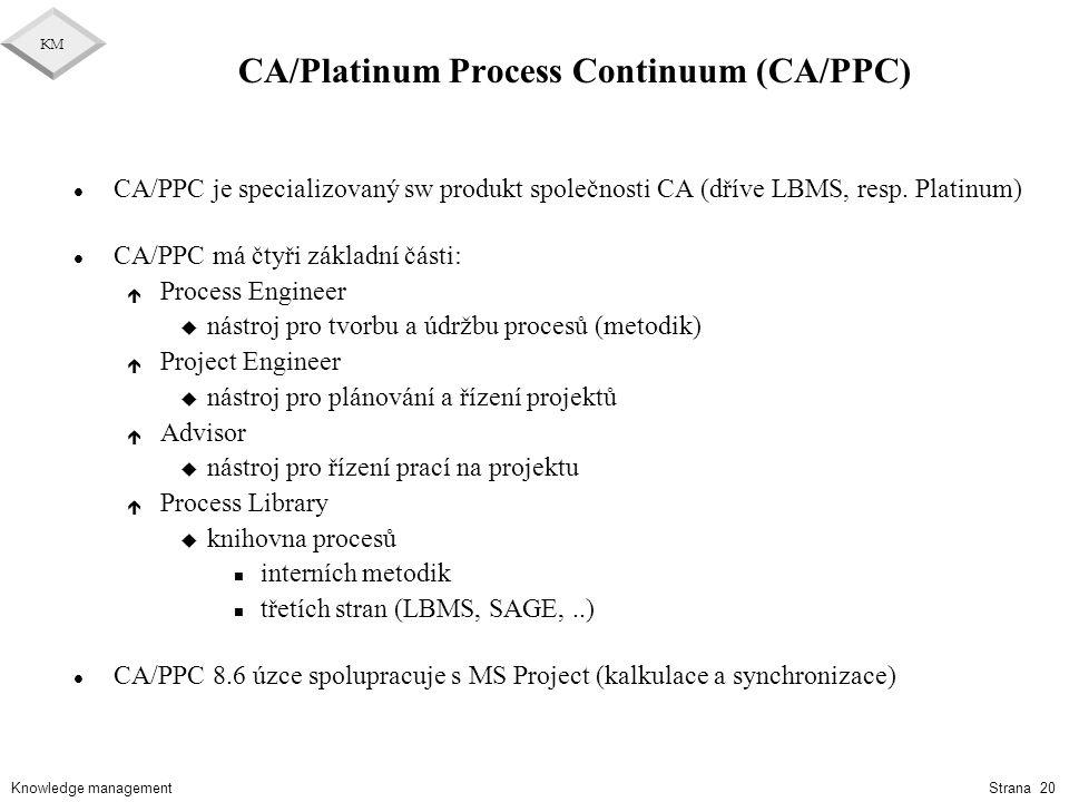 Knowledge management KM Strana 20 CA/Platinum Process Continuum (CA/PPC) l CA/PPC je specializovaný sw produkt společnosti CA (dříve LBMS, resp. Plati