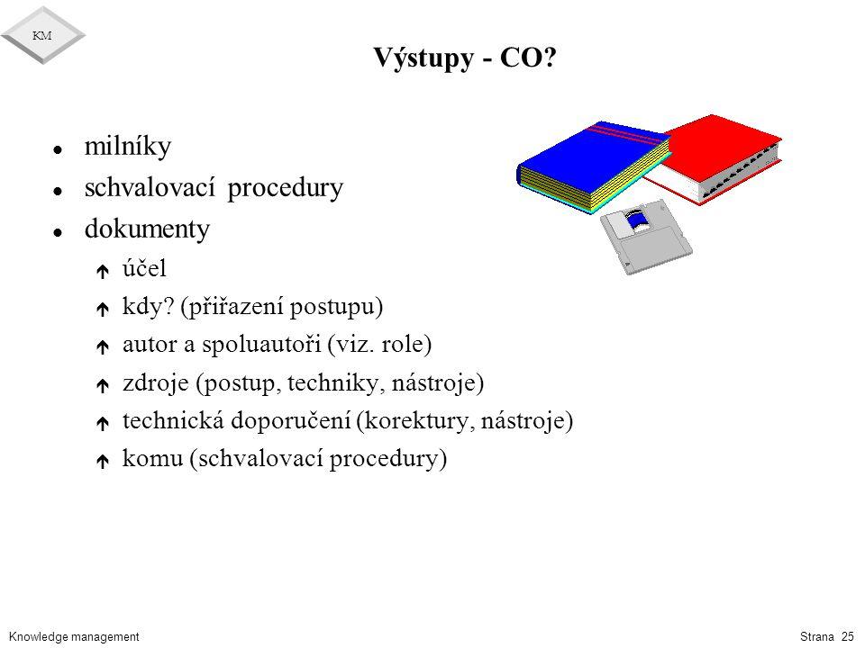 Knowledge management KM Strana 25 Výstupy - CO? l milníky l schvalovací procedury l dokumenty é účel é kdy? (přiřazení postupu) é autor a spoluautoři