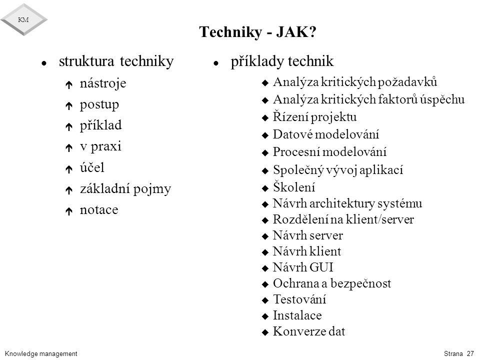 Knowledge management KM Strana 27 Techniky - JAK? l struktura techniky é nástroje é postup é příklad é v praxi é účel é základní pojmy é notace l přík