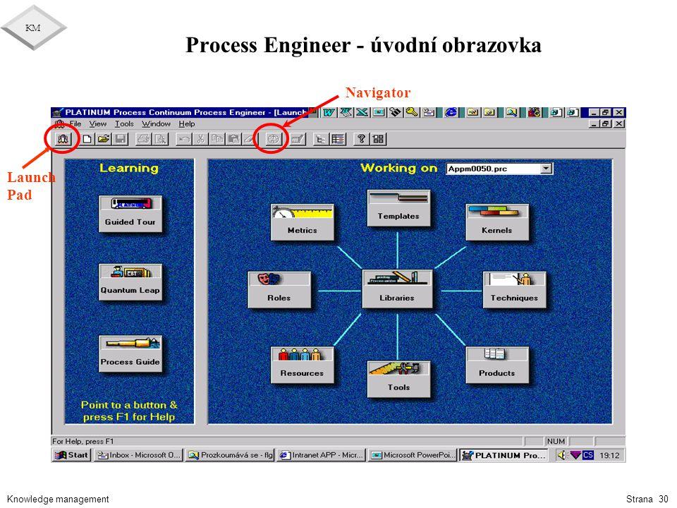 Knowledge management KM Strana 30 Process Engineer - úvodní obrazovka Launch Pad Navigator
