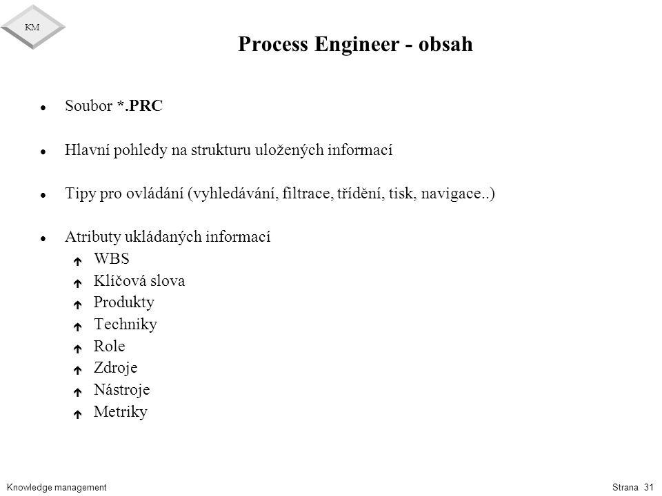 Knowledge management KM Strana 31 Process Engineer - obsah l Soubor *.PRC l Hlavní pohledy na strukturu uložených informací l Tipy pro ovládání (vyhle