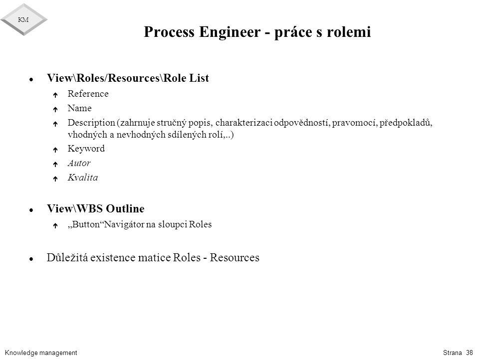 Knowledge management KM Strana 38 Process Engineer - práce s rolemi l View\Roles/Resources\Role List é Reference é Name é Description (zahrnuje stručn