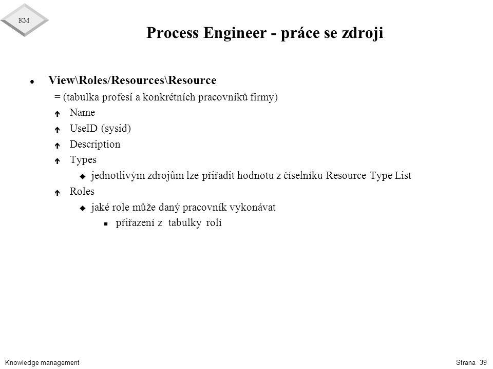 Knowledge management KM Strana 39 Process Engineer - práce se zdroji l View\Roles/Resources\Resource = (tabulka profesí a konkrétních pracovníků firmy
