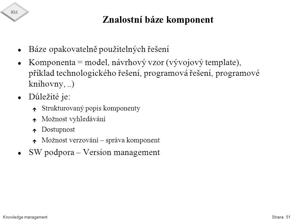 Knowledge management KM Strana 51 Znalostní báze komponent l Báze opakovatelně použitelných řešení l Komponenta = model, návrhový vzor (vývojový templ
