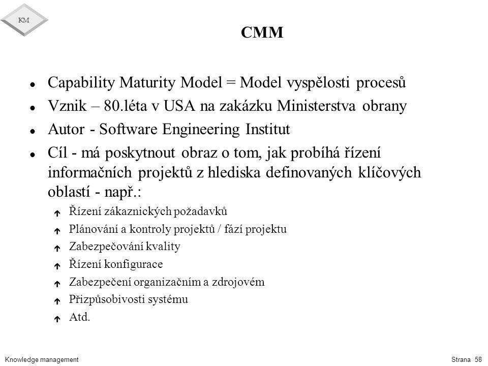 Knowledge management KM Strana 58 CMM l Capability Maturity Model = Model vyspělosti procesů l Vznik – 80.léta v USA na zakázku Ministerstva obrany l