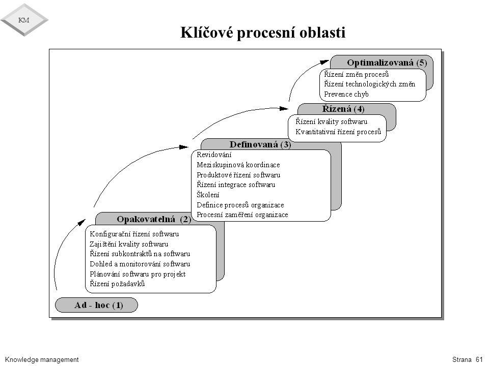 Knowledge management KM Strana 61 Klíčové procesní oblasti