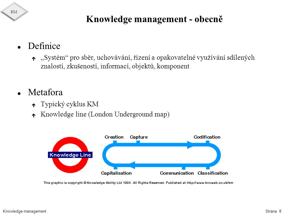 Knowledge management KM Strana 59 Druhy CMM l SW-CMM = Capability Maturity Model for Software l P-CMM = People CMM l SA-CMM = Software Aquisition CMM l SE-CMM = System Engineering CMM l IPD-CMM = Integrated Product Development CMM