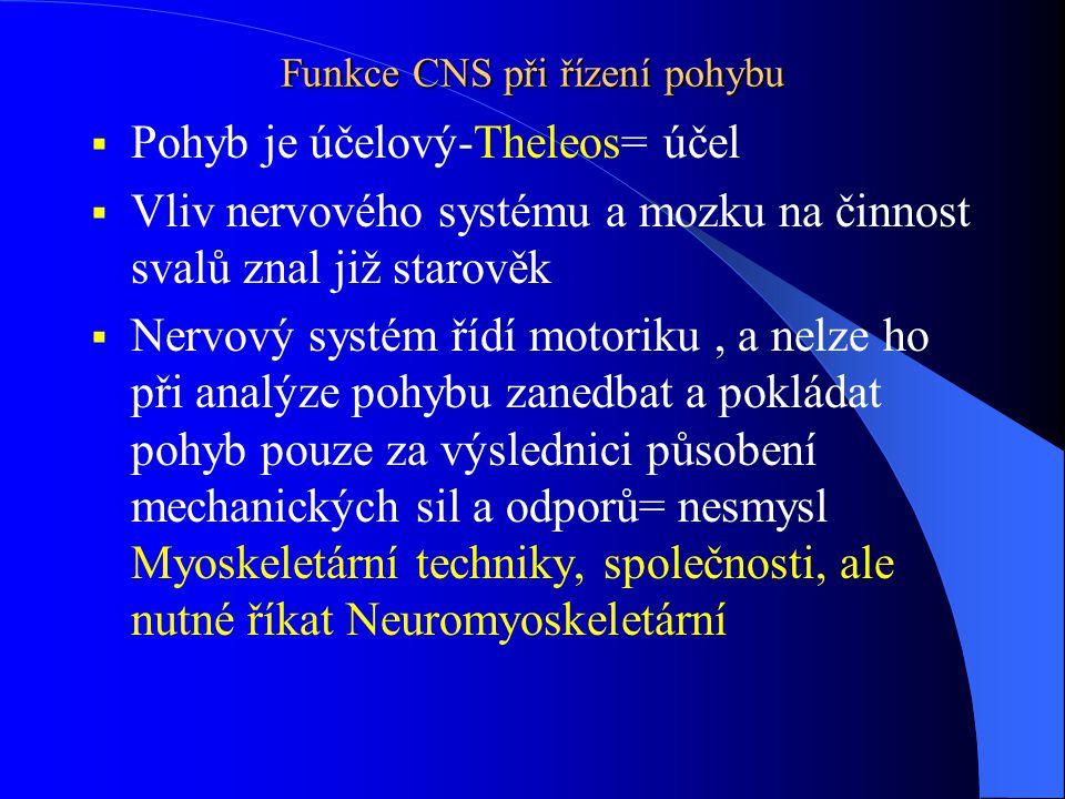 Funkce CNS při řízení pohybu  Pohyb je účelový-Theleos= účel  Vliv nervového systému a mozku na činnost svalů znal již starověk  Nervový systém říd