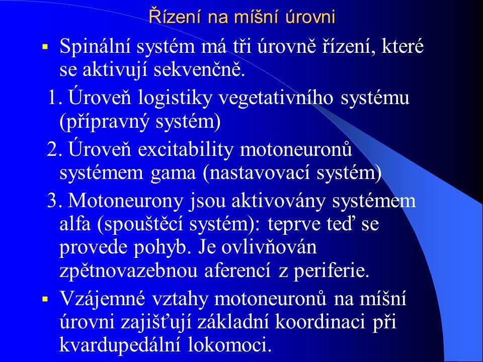 Řízení na míšní úrovni  Spinální systém má tři úrovně řízení, které se aktivují sekvenčně. 1. Úroveň logistiky vegetativního systému (přípravný systé