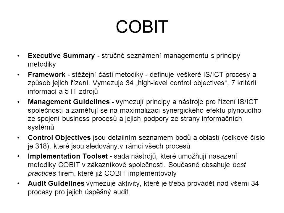 COBIT Executive Summary - stručné seznámení managementu s principy metodiky Framework - stěžejní části metodiky - definuje veškeré IS/ICT procesy a zp