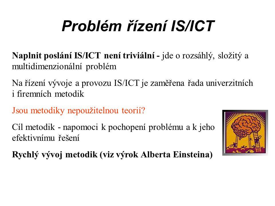 Problém řízení IS/ICT Naplnit poslání IS/ICT není triviální - jde o rozsáhlý, složitý a multidimenzionální problém Na řízení vývoje a provozu IS/ICT j