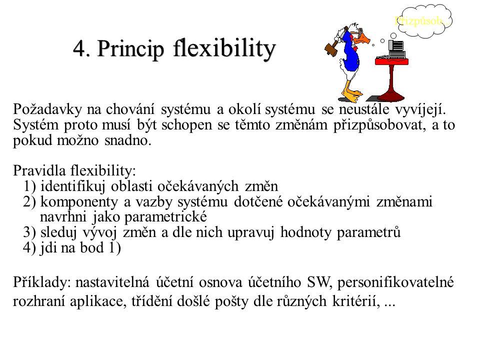 4. Princip f lexibility Požadavky na chování systému a okolí systému se neustále vyvíjejí. Systém proto musí být schopen se těmto změnám přizpůsobovat