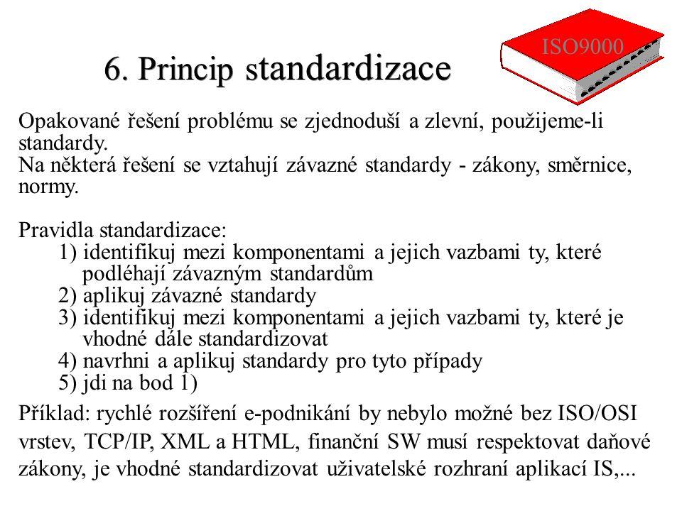 6. Princip s tandardizace Opakované řešení problému se zjednoduší a zlevní, použijeme-li standardy. Na některá řešení se vztahují závazné standardy -