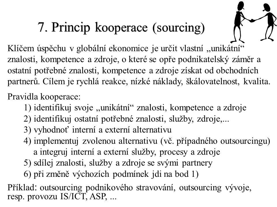 """7. Princip k ooperace (sourcing) Klíčem úspěchu v globální ekonomice je určit vlastní """"unikátní"""" znalosti, kompetence a zdroje, o které se opře podnik"""
