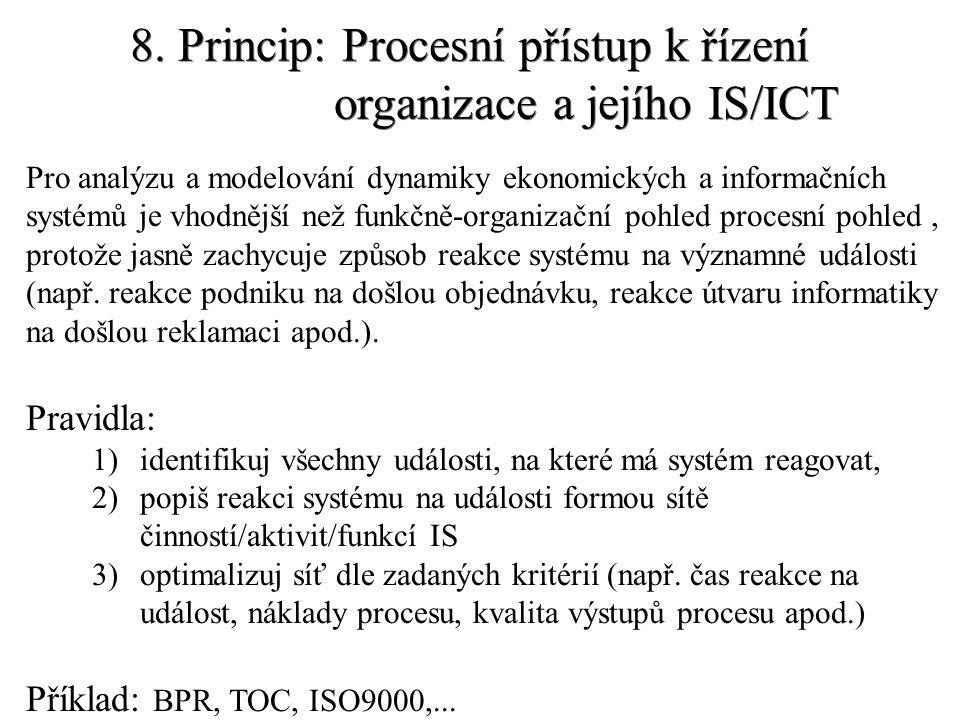 8. Princip: Procesní přístup k řízení organizace a jejího IS/ICT Pro analýzu a modelování dynamiky ekonomických a informačních systémů je vhodnější ne
