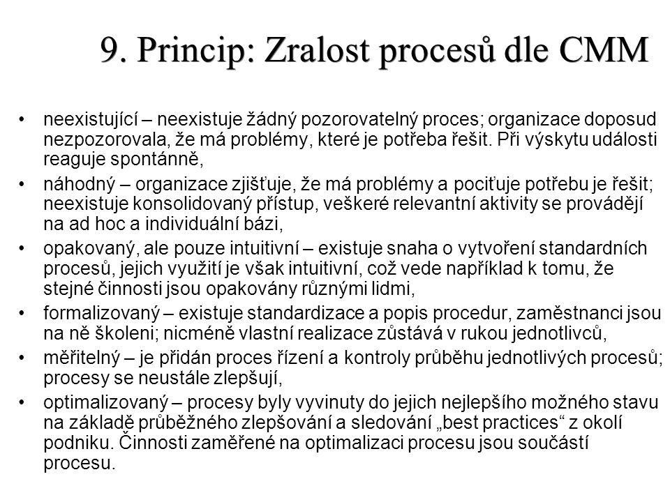 9. Princip: Zralost procesů dle CMM neexistující – neexistuje žádný pozorovatelný proces; organizace doposud nezpozorovala, že má problémy, které je p