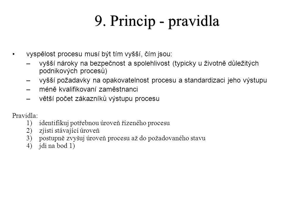 9. Princip - pravidla vyspělost procesu musí být tím vyšší, čím jsou: –vyšší nároky na bezpečnost a spolehlivost (typicky u životně důležitých podniko