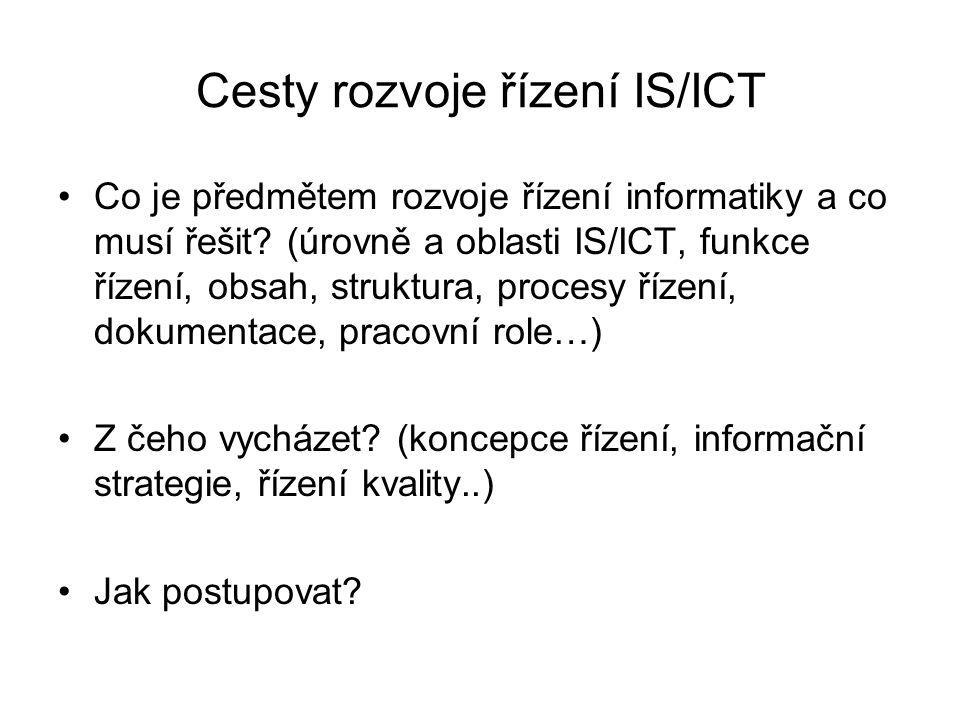Cesty rozvoje řízení IS/ICT Co je předmětem rozvoje řízení informatiky a co musí řešit? (úrovně a oblasti IS/ICT, funkce řízení, obsah, struktura, pro