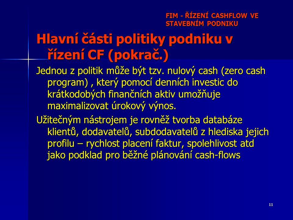 11 FIM - ŘÍZENÍ CASHFLOW VE STAVEBNÍM PODNIKU Hlavní části politiky podniku v řízení CF (pokrač.) Jednou z politik může být tzv.